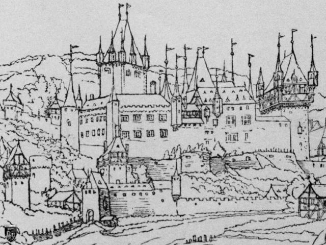 Schloss Johannisburg - Die Burg Johannisburg vor dem Abriss. Copyright Bildarchiv Foto Marburg