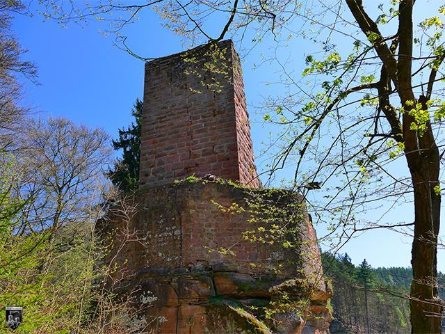 Burg Diemerstein - Der Bergfried mit seiner leichten Schildmauer vom Halsgraben aus.